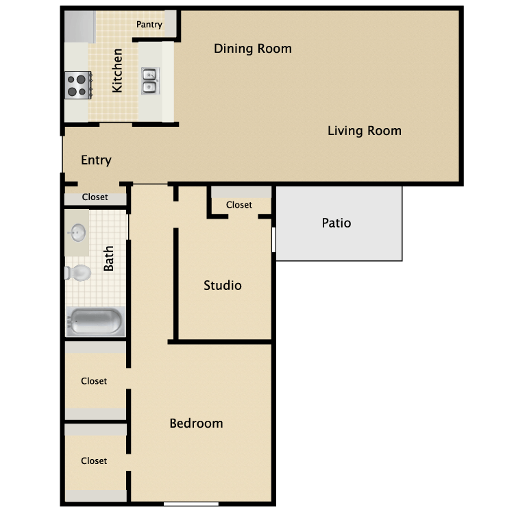 762 sq. ft. B1 floor plan
