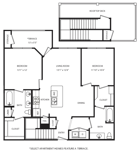 1,073 sq. ft. B2 floor plan