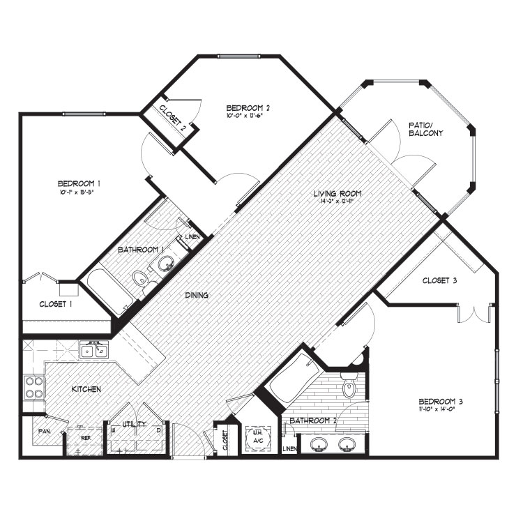 1,413 sq. ft. C1 floor plan