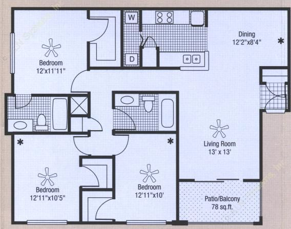 1,284 sq. ft. to 1,362 sq. ft. floor plan