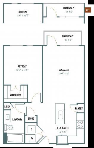 752 sq. ft. A3 floor plan