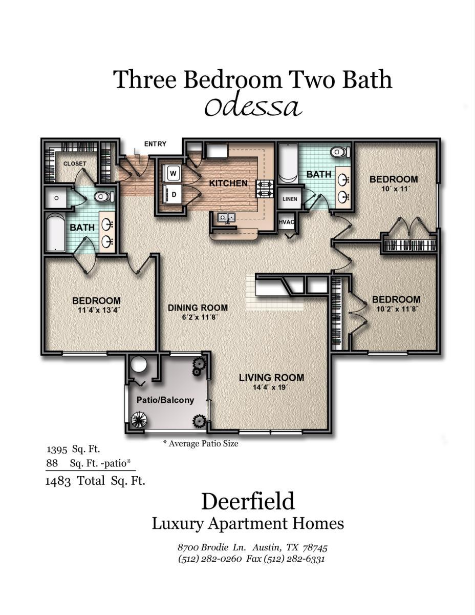 1,395 sq. ft. Odessa floor plan