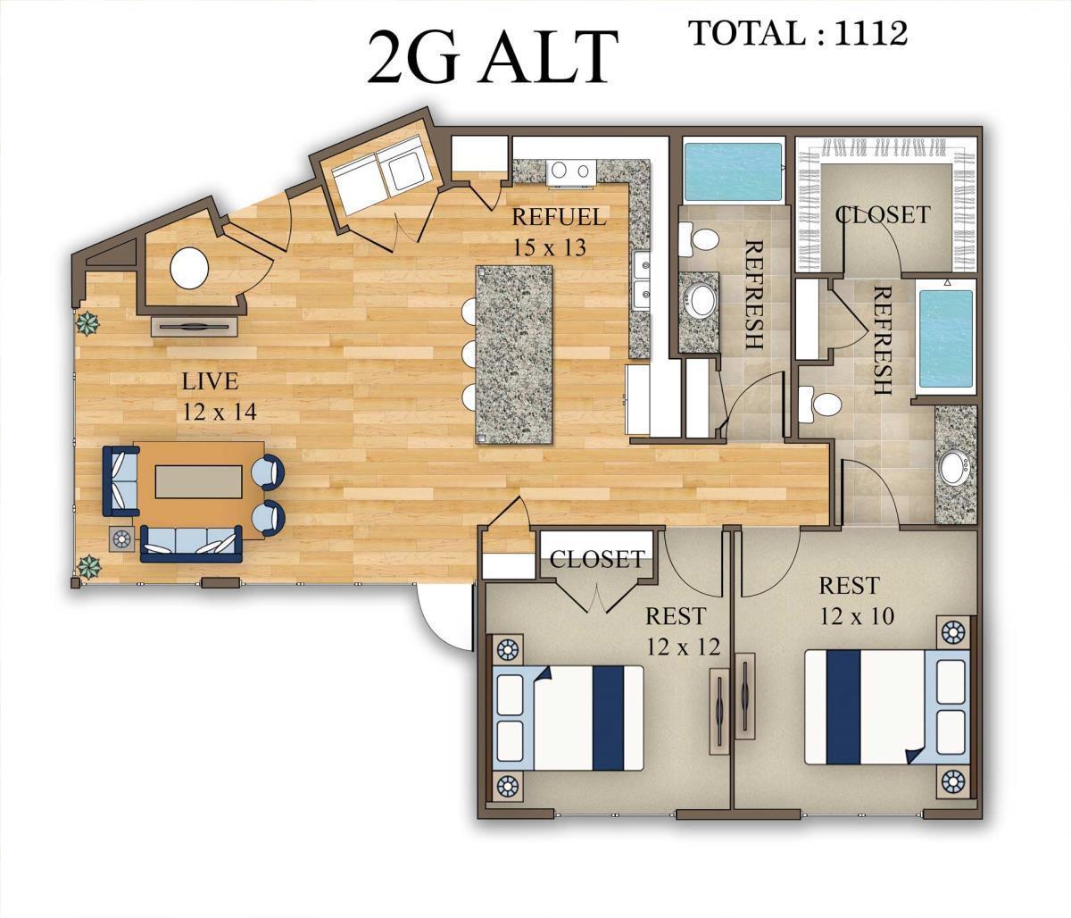 1,112 sq. ft. 2G Alt 1 floor plan