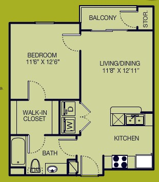 600 sq. ft. 1/1 floor plan