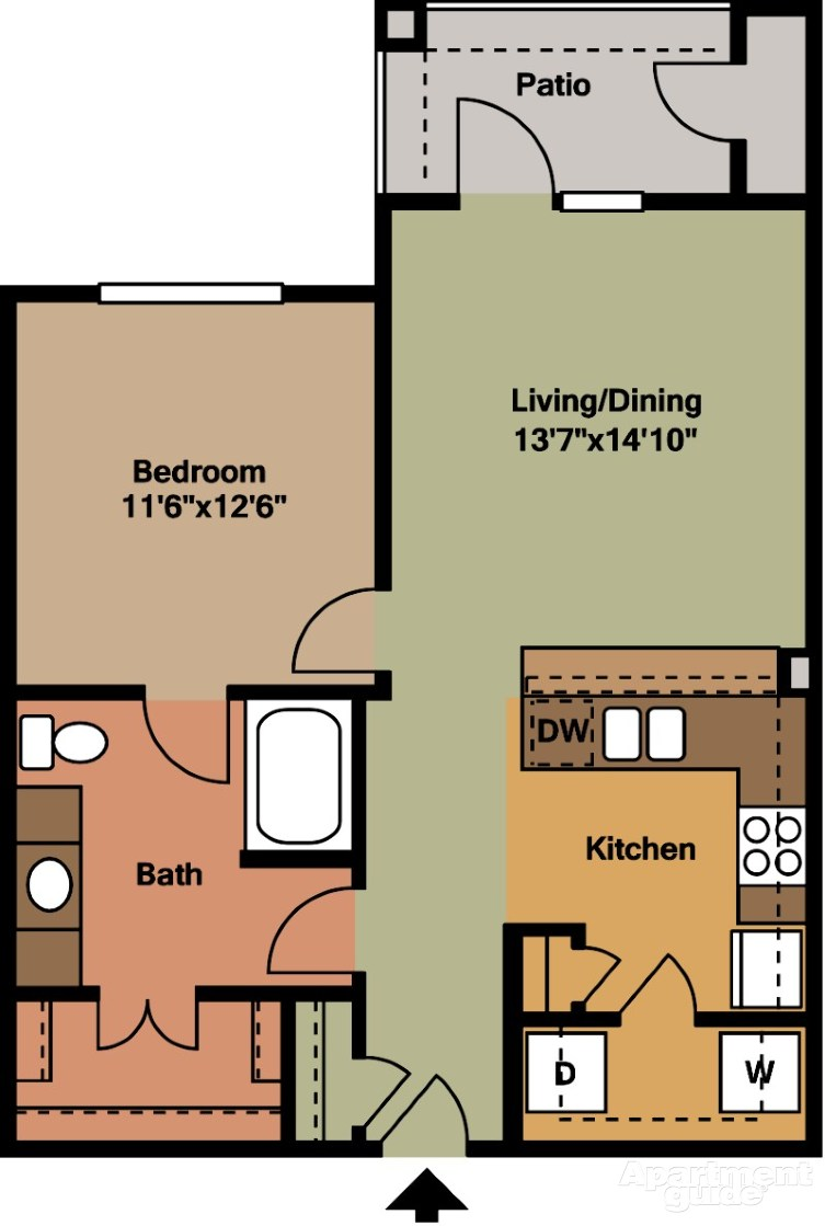 750 sq. ft. A4 floor plan
