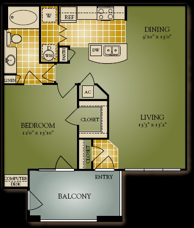 823 sq. ft. A3 floor plan
