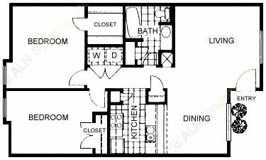893 sq. ft. B1 floor plan
