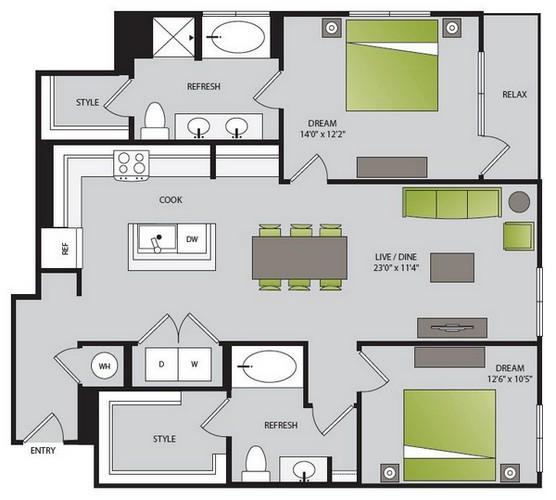 1,247 sq. ft. B2.2 floor plan