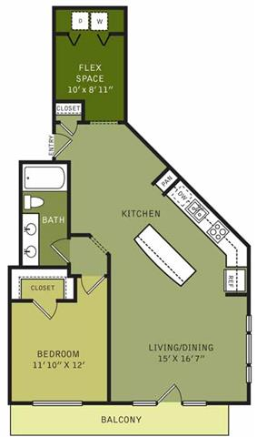 991 sq. ft. floor plan