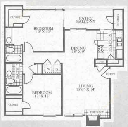 1,000 sq. ft. 3B2 floor plan