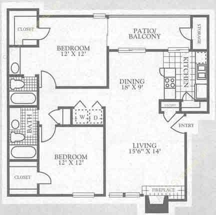 1,000 sq. ft. 3B2 floor plan