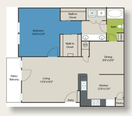 894 sq. ft. B2 floor plan