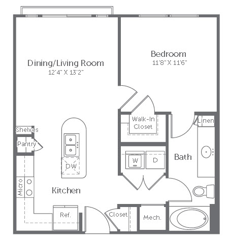 645 sq. ft. to 663 sq. ft. A1 floor plan