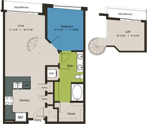 856 sq. ft. A8J-L1 floor plan