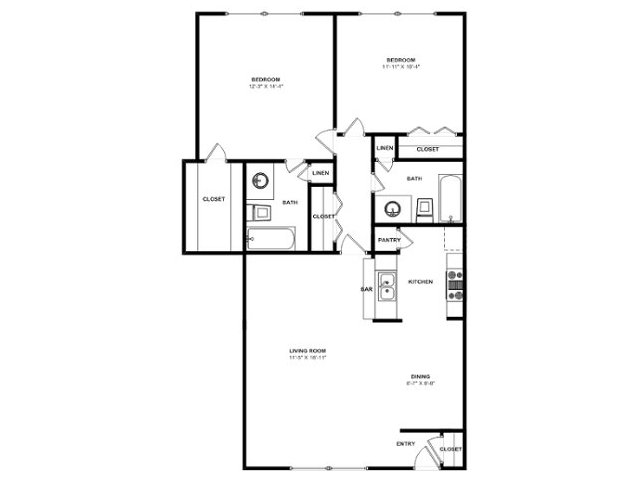 835 sq. ft. B2 floor plan