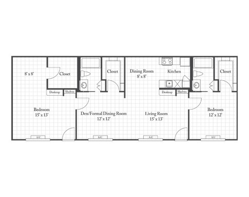 1,232 sq. ft. Minosa floor plan