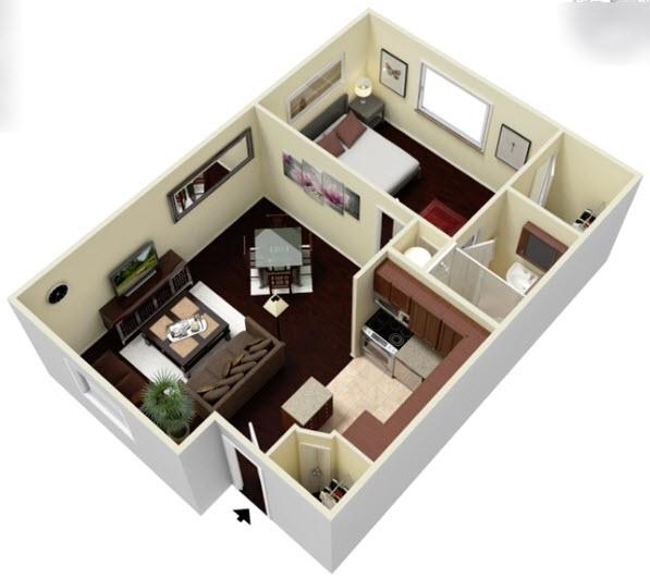 564 sq. ft. E1 floor plan