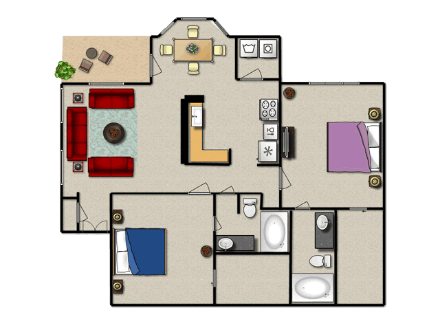 1,120 sq. ft. C floor plan