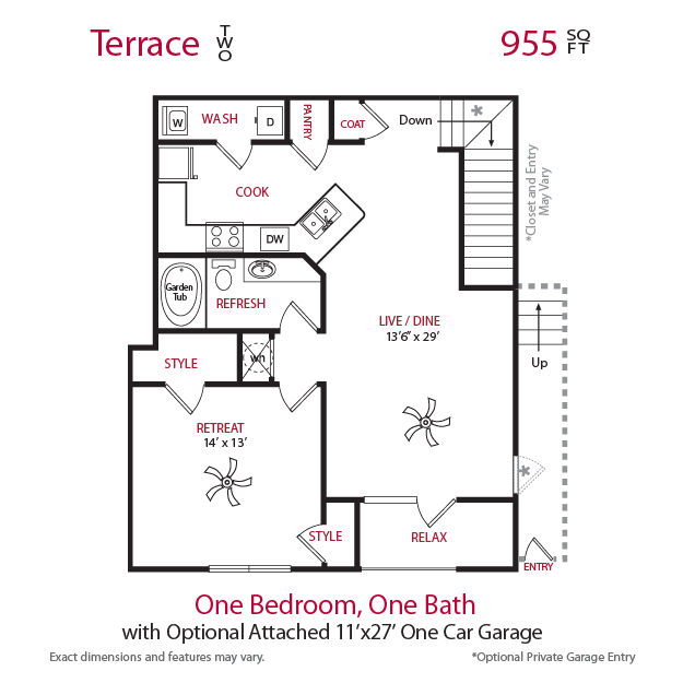 955 sq. ft. Terrace 2 floor plan