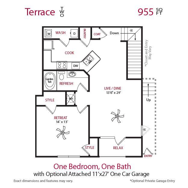 978 sq. ft. A2UG Upper floor plan