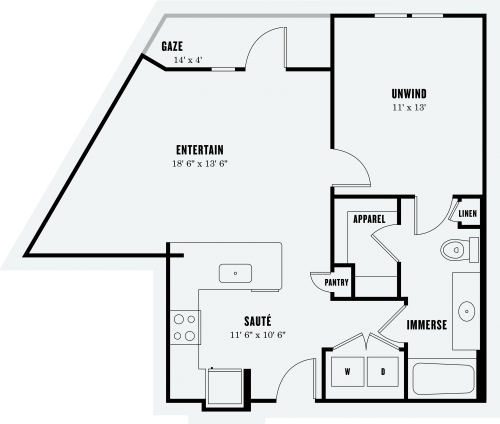 744 sq. ft. A1A floor plan