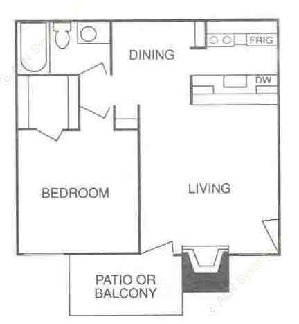 558 sq. ft. A-3 floor plan