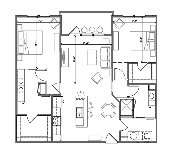 1,225 sq. ft. B3 floor plan