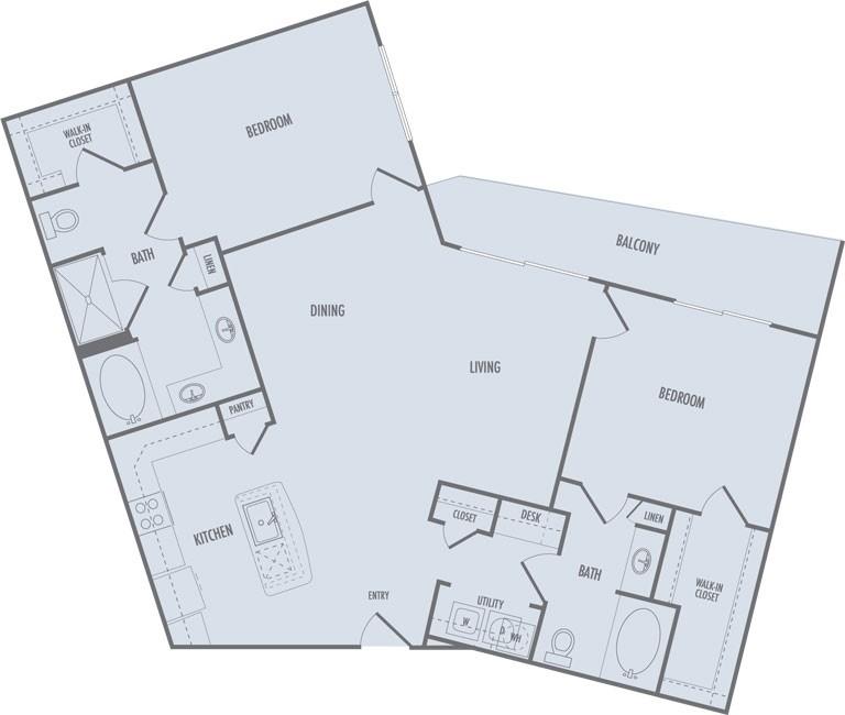 1,302 sq. ft. C4 floor plan