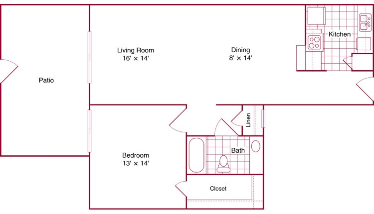 792 sq. ft. Melrose floor plan