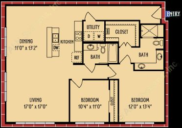 1,328 sq. ft. B2 floor plan