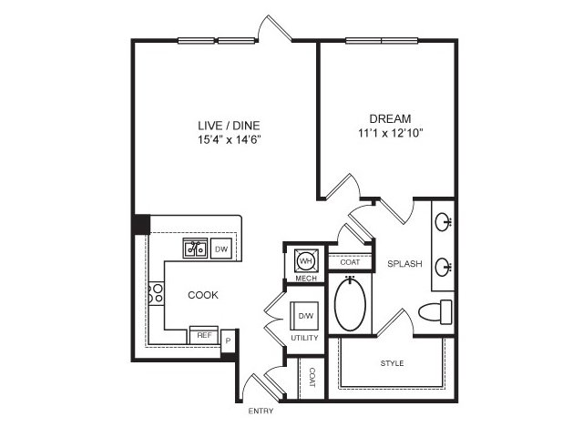 817 sq. ft. Hester floor plan