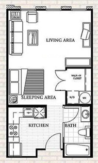 497 sq. ft. to 597 sq. ft. E1 floor plan