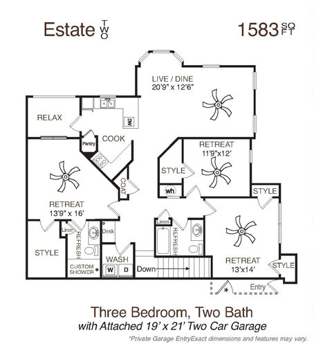 1,583 sq. ft. Estate Two floor plan