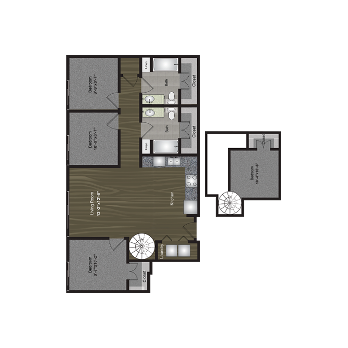 1,235 sq. ft. SXSW Loft floor plan