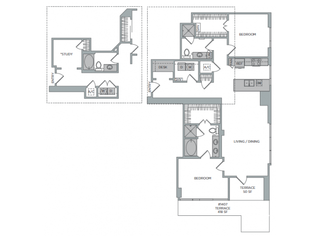 1,489 sq. ft. 2G floor plan