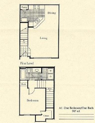 747 sq. ft. A1/50% floor plan