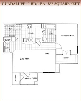 858 sq. ft. Guadalupe floor plan