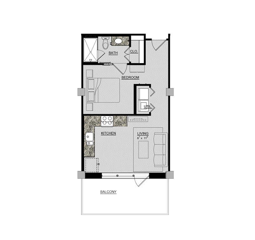 540 sq. ft. Rose floor plan