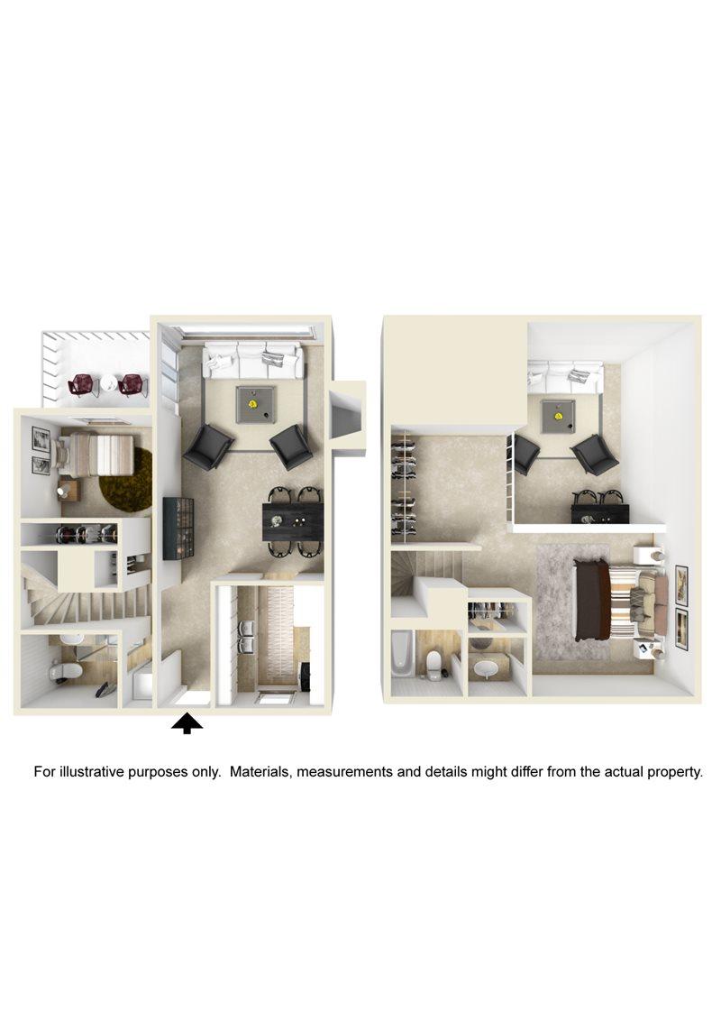903 sq. ft. Loft B3 floor plan