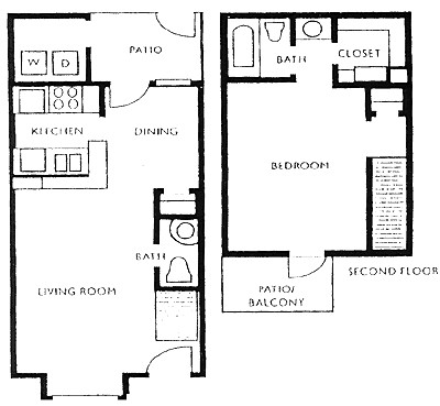 711 sq. ft. F1/F2 floor plan