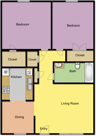 840 sq. ft. B1 floor plan