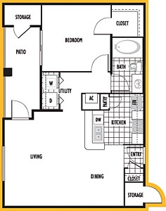 722 sq. ft. Grenada floor plan