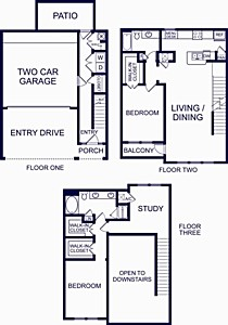 1,733 sq. ft. SALMANCA ONE floor plan