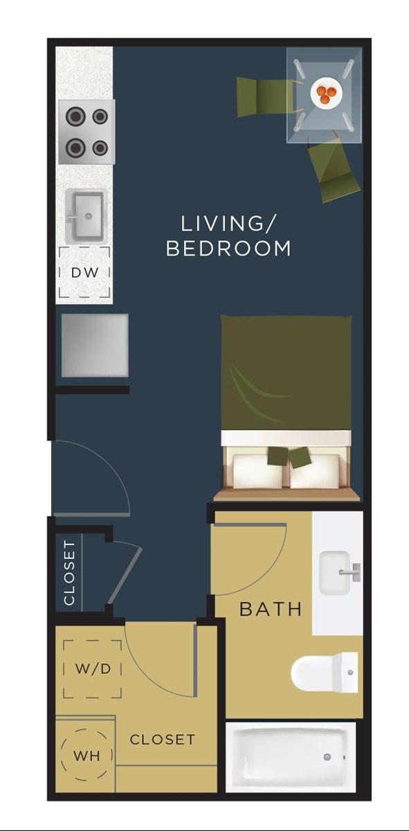 393 sq. ft. E0 floor plan