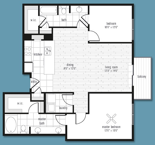 1,224 sq. ft. to 1,284 sq. ft. E floor plan
