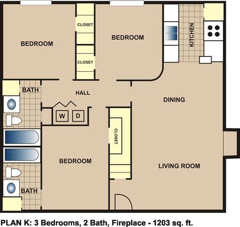 1,203 sq. ft. K floor plan