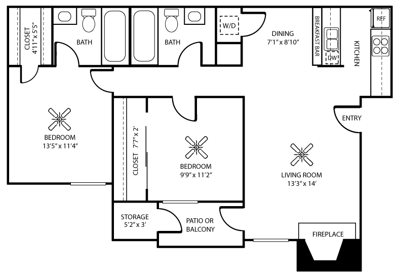 925 sq. ft. C floor plan