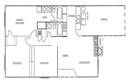 1,147 sq. ft. Three Bedroom-A floor plan