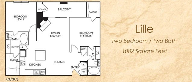 1,082 sq. ft. Lille floor plan