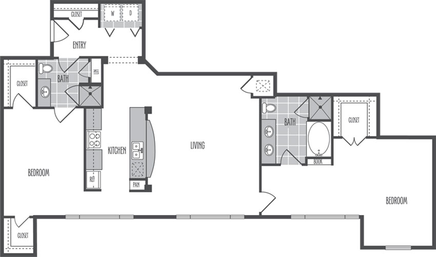 1,387 sq. ft. L floor plan
